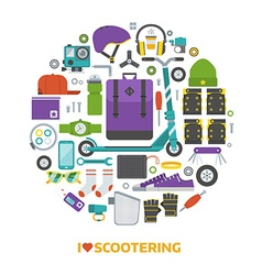 Push scooter lifestyle set vector