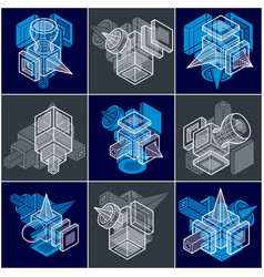 set of isometric abstract geometric shapes vector image vector image