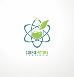Unique symbol design with leaf and atom vector image vector image