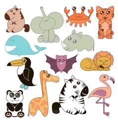 cute animals set in cartoon vector image