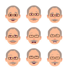 old male people face emotions collection on white vector image
