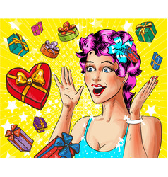 pop art happy young woman with gift boxes vector image vector image