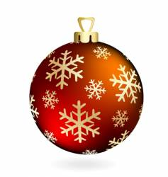 red christmas ball on white vector image