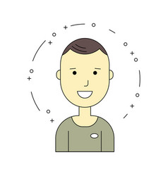 smiling guy character minimalism cartoon flat vector image vector image