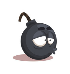 cartoon funny round bomb character with stressed vector image