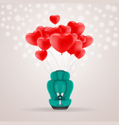 green child car seat with red baloons in shape of vector image
