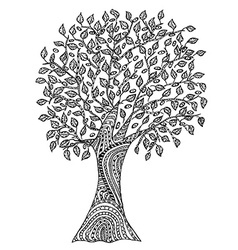 Hand drawn tree with pattern vector image vector image
