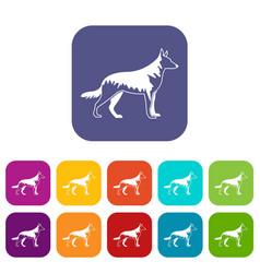 Shepherd dog icons set vector