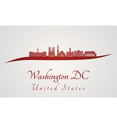 Washington DC V2 skyline in red vector image