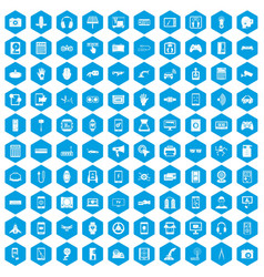 100 adjustment icons set blue vector
