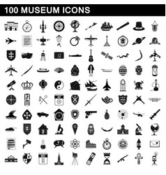 100 museum icons set simple style vector