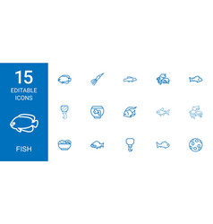 15 fish icons vector