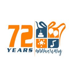 72 years gift box ribbon anniversary vector