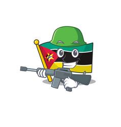 A cartoon style flag mozambique army vector
