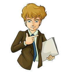 A handsome business icon holding binder vector