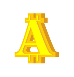 a letter bitcoin font cryptocurrency alphabet vector image