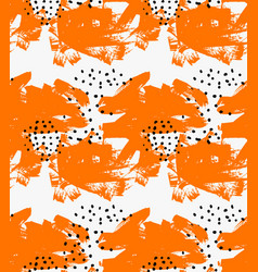 Abstract orange grunge and black dots vector