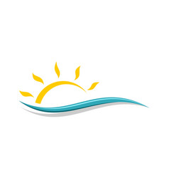Abstract wave and sun logo template vector