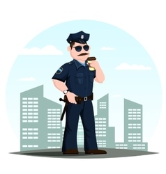 american police officer or patrolmen with coffee vector image