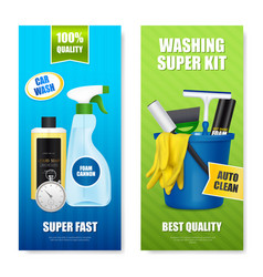 Auto cleaning kit banners vector
