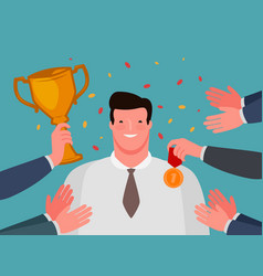 awarding ceremony success business concept vector image