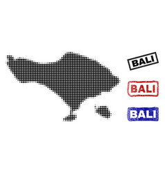Bali island map in halftone dot style with grunge vector