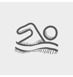 Beach wave swimming sketch icon vector