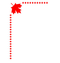 Canadian flag symbolism red leaf corner frame vector