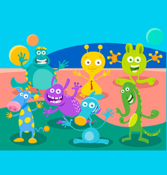 Cartoon fantasy monster or alien characters group vector