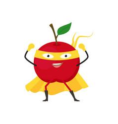 cartoon superhero character red apple flat design vector image