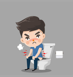 Caucasian man sitting on toilet bowl and vector