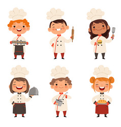 Characters set of children cooks cartoon mascots vector