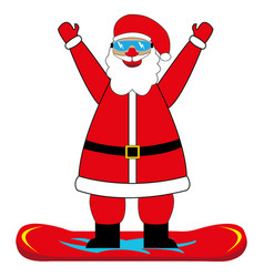 cheerful cartoon santa claus snowboarder vector image