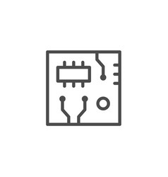 circuit board line outline icon vector image