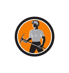 Coal Miner Holding Pick Axe Side Circle Retro vector