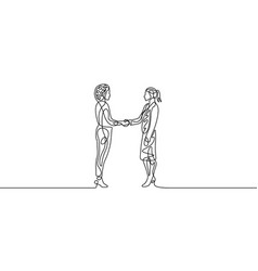 continuous one line businesswomans handshaking vector image