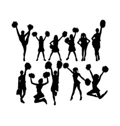 Cool cheerleaders silhouette vector