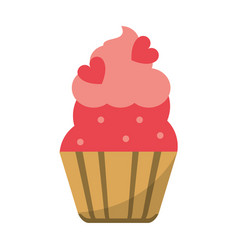 cup cake love decoration vector image