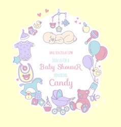 Cute bashower invitation for boy or girl party vector