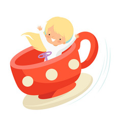 Cute little boy sitting in cup carousel happy kid vector