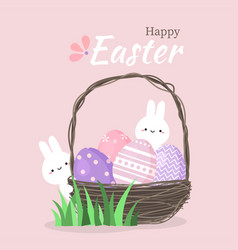 cute rabbit with colorful easter eggs in basket vector image