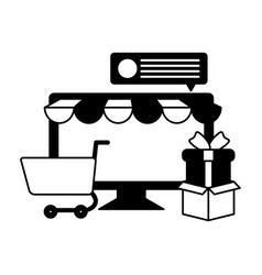desktop computer with tent and shopping cart vector image