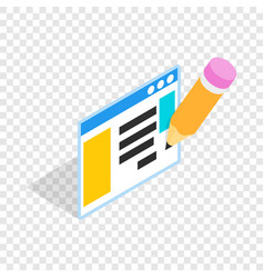 document with pencil isometric icon vector image