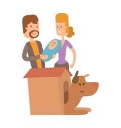 Dog life Happy puppy family members vector