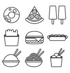 fast food icons burger and fries pizza hot dog vector image