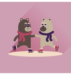 Flat icon with long shadow bears skate vector