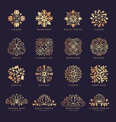 floral beauty logo luxury stylized decorative vector image