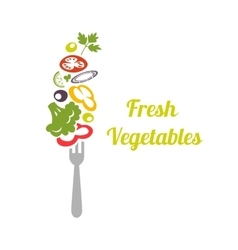 Fresh mixed vegetables on fork Logo design vector