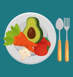 fresh vegetables salad menu vector image