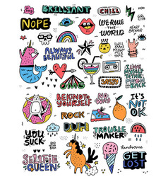fun sticker collection vector image